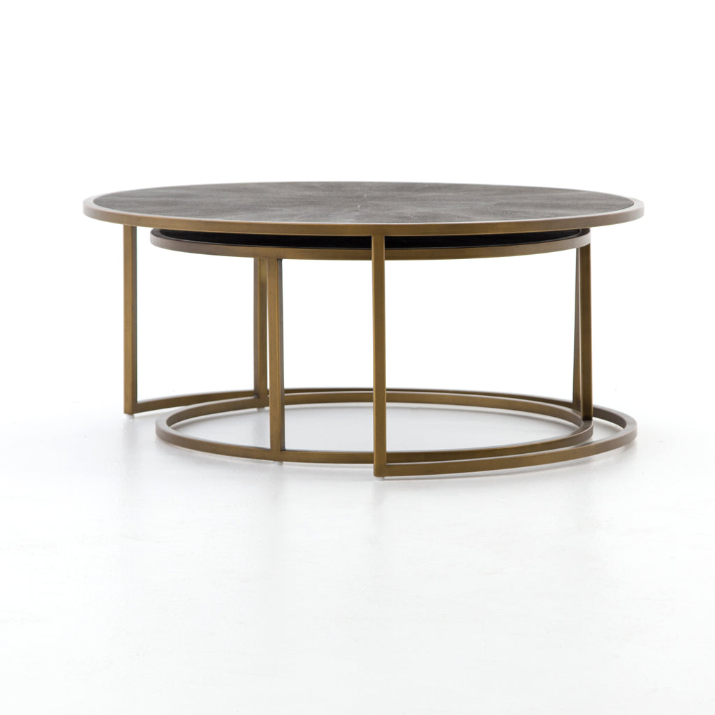 Shagreen Nesting Coffee Table In Antique Brass