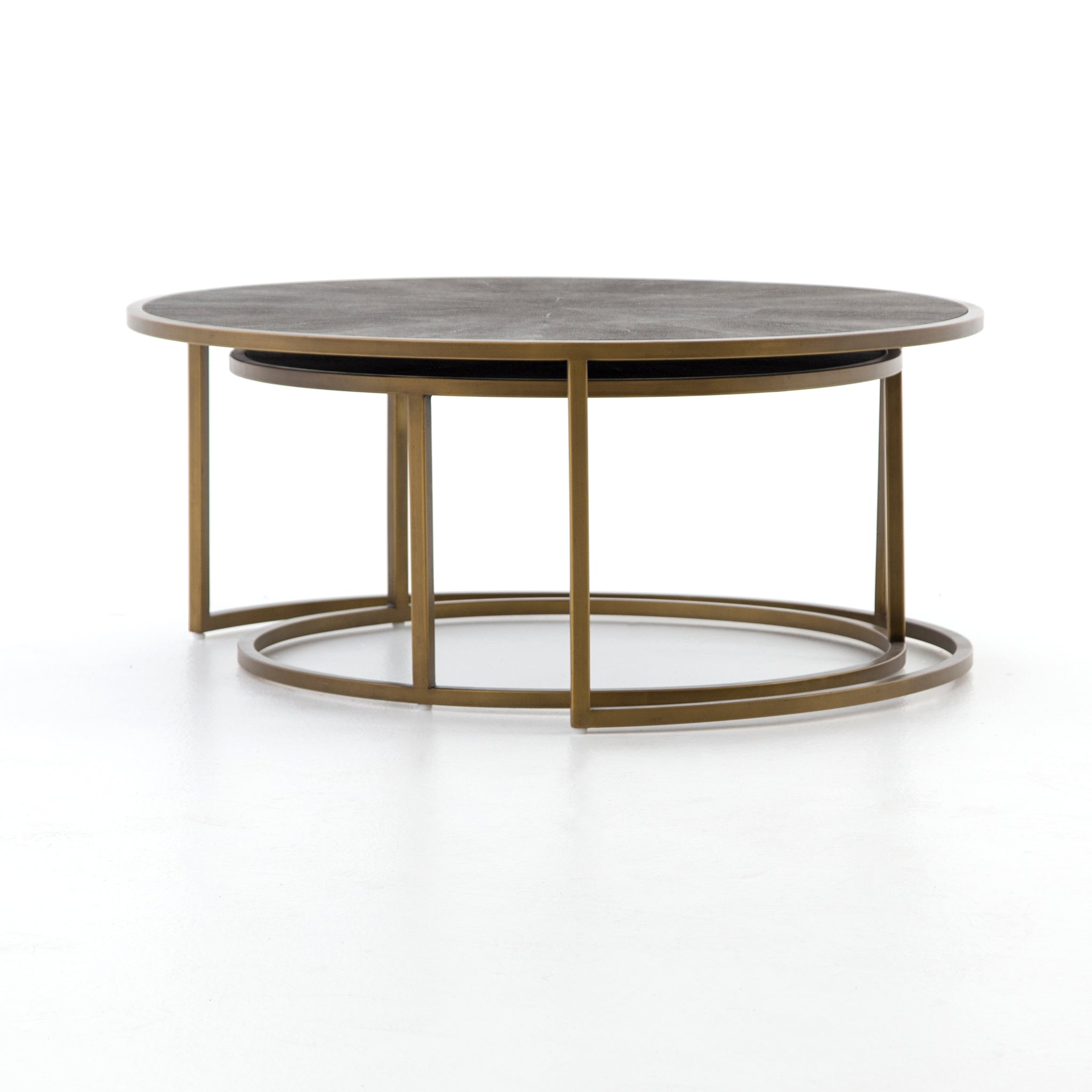 Shagreen Nesting Coffee Table In Antique Brass BURKE DECOR - Calvin coffee table