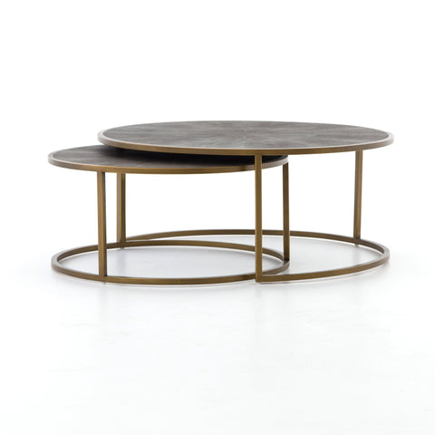 Shagreen Nesting Coffee Table in Antique Brass by BD Studio