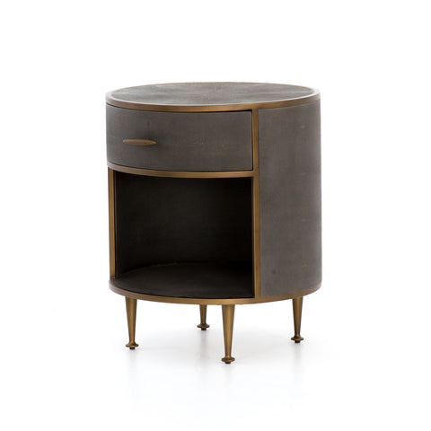 Shagreen Round Nightstand In Antique Brass