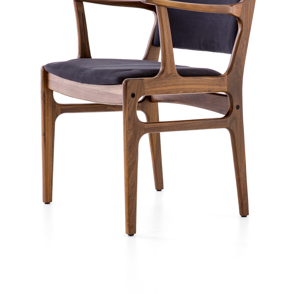 Bina Dining Arm Chair in Dark Blue Canvas