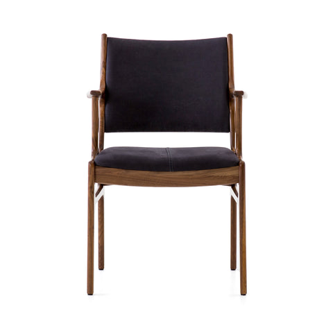 Bina Dining Arm Chair in Dark Blue Canvas by BD Studio