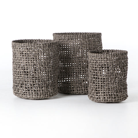 Set of 3 Woven Baskets in Natural