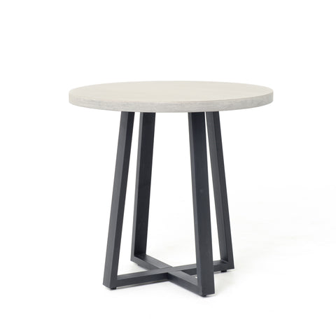 Small Cyrus Round Dining Table in Black & Light Grey