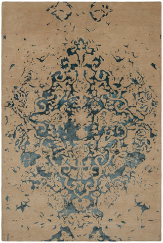 Veleno Collection Hand-Tufted Area Rug in Tan & Teal design by Chandra rugs
