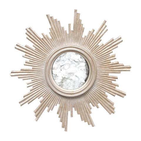 Versailles Champagne Silver Leafed Handcarved Mirror w/ Antqiue Mirror Inset design by BD Studio