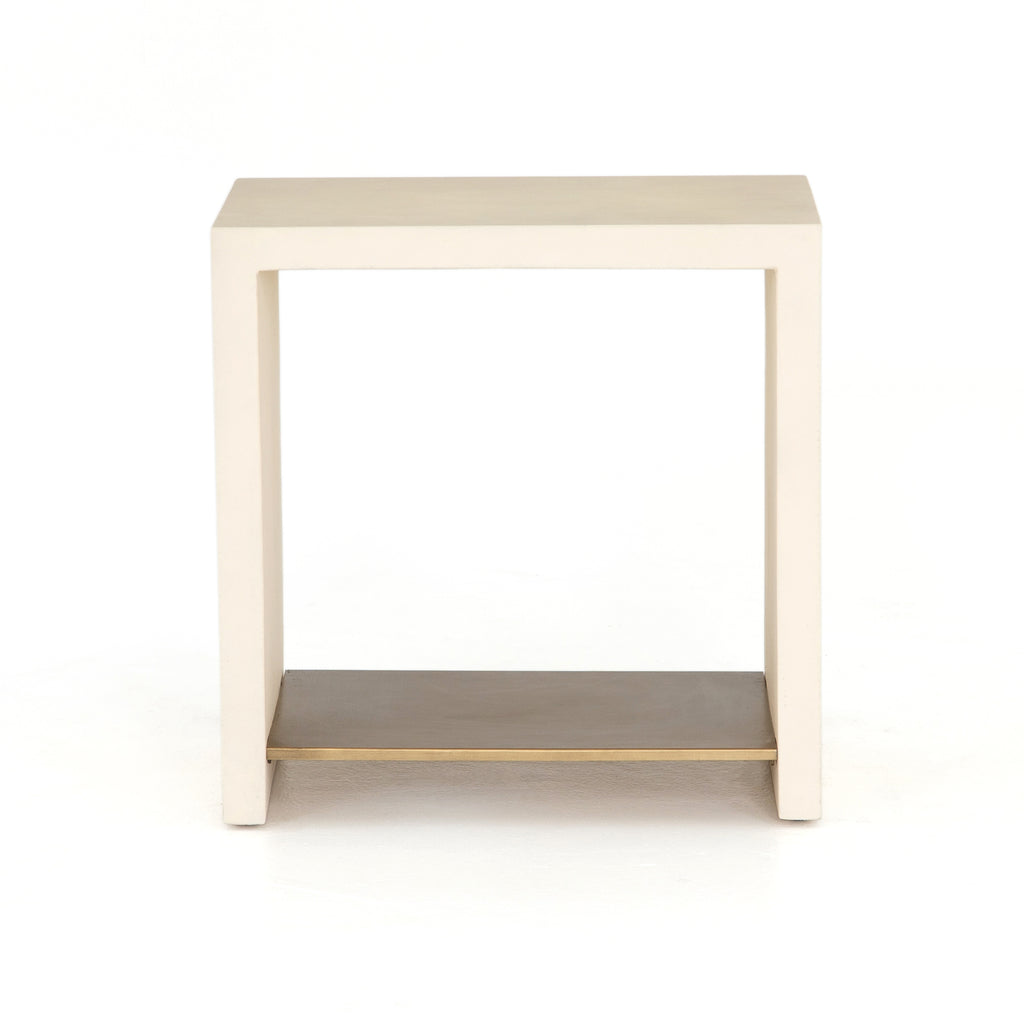 Hugo End Table in Parchment White by BD Studio