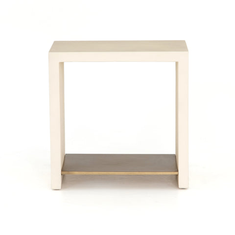 Hugo End Table in Parchment White