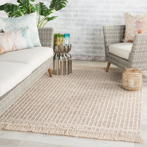 Soleil Indoor/ Outdoor Solid Beige/ Dark Taupe Rug by Jaipur Living