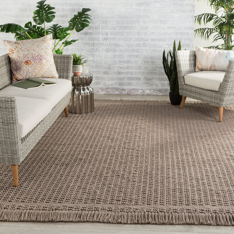 Soleil Indoor/ Outdoor Solid Dark Taupe Rug by Jaipur Living
