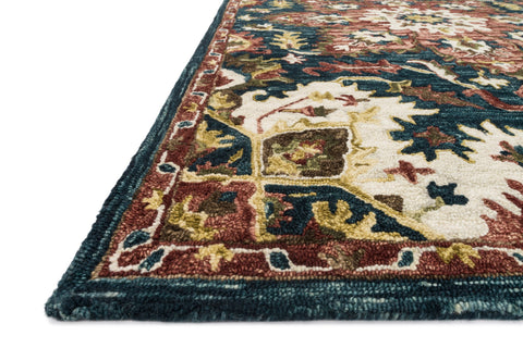 Victoria Rug in Teal & Raspberry by Loloi