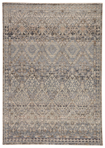 Cashel Tribal Gray & Dark Blue Rug by Jaipur Living