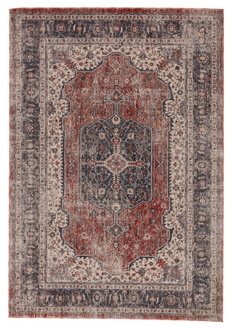 Temple Medallion Gray & Red Rug by Jaipur Living