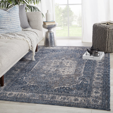 Temple Medallion Blue & Gray Rug by Jaipur Living