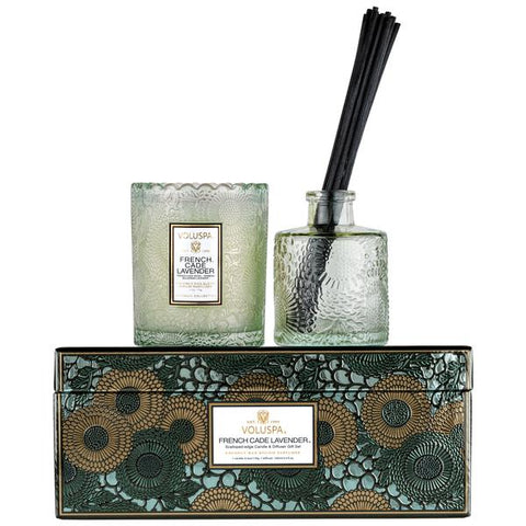 French Cade Lavender Candle & Diffuser Set