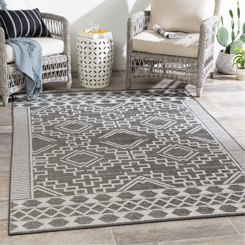 Veranda VRD-2309 Indoor/Outdoor Rug in Dark Brown & Ivory by Surya