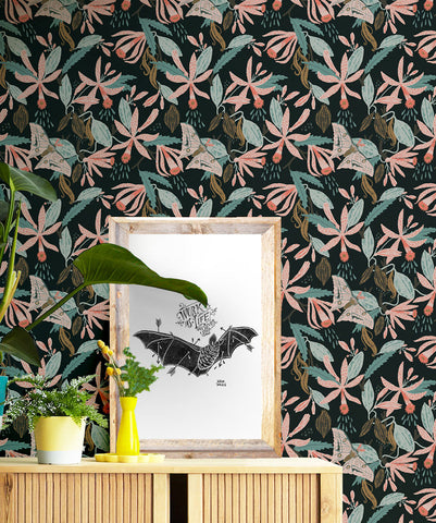 Vanilla Moth Wallpaper in Night from the Kingdom Home Collection by Milton & King