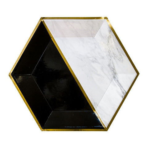 Vanity - White Marble and Black Colorblock Large Paper Plates design by Harlow & Grey