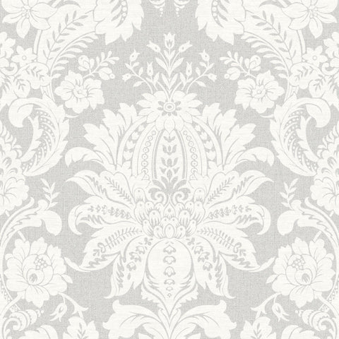 Venetian Damask Wallpaper in Grey from the Empress Collection by Graham & Brown