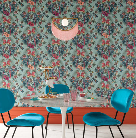 Ventura Wallpaper in Aqua from the Daydreams Collection by Matthew Williamson for Osborne & Little