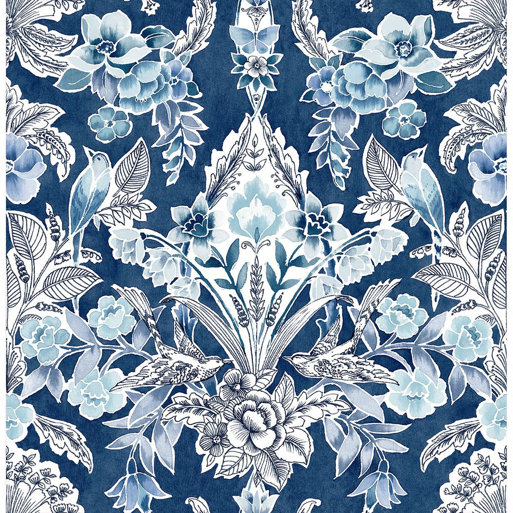 Sample Vera Floral Damask Wallpaper in Blue from the Bluebell Collection by Brewster Home Fashions