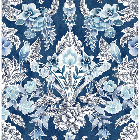 Vera Floral Damask Wallpaper in Blue from the Bluebell Collection by Brewster Home Fashions