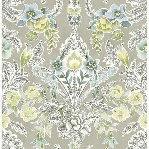 Vera Floral Damask Wallpaper in Light Green from the Bluebell Collection by Brewster Home Fashions
