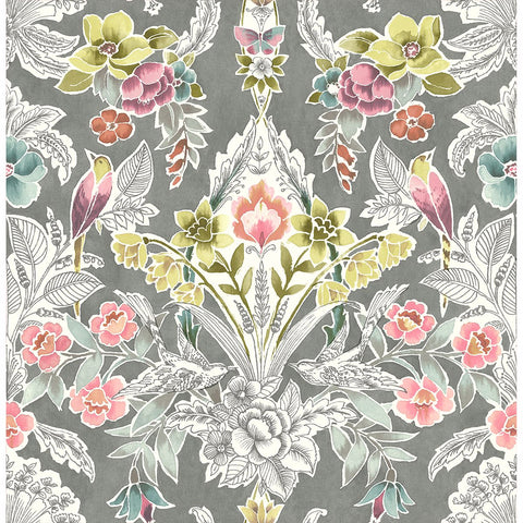 Vera Floral Damask Wallpaper in Multicolor from the Bluebell Collection by Brewster Home Fashions