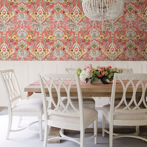 Vera Floral Damask Wallpaper in Pink from the Bluebell Collection by Brewster Home Fashions