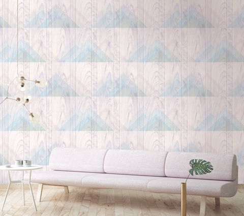 Vermont Wallpaper in Lilac, Cream, and Blue from the Aerial Collection by Mayflower Wallpaper
