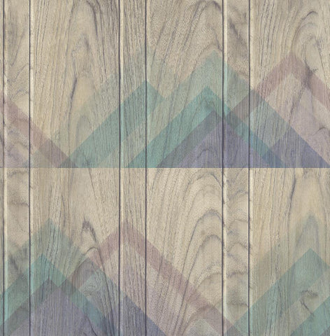 Vermont Wallpaper in Purple, Blue, and Sand from the Aerial Collection by Mayflower Wallpaper