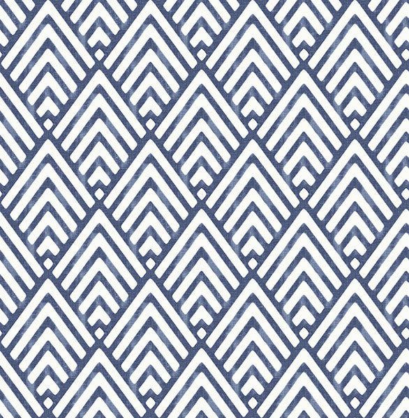 Sample Vertex Indigo Diamond Geometric Wallpaper from the Symetrie Collection by Brewster Home Fashions