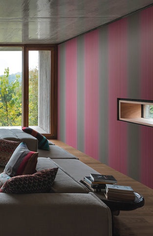 Vertical Stripe Wallpaper in Jade and Pink by Missoni Home for York Wallcoverings