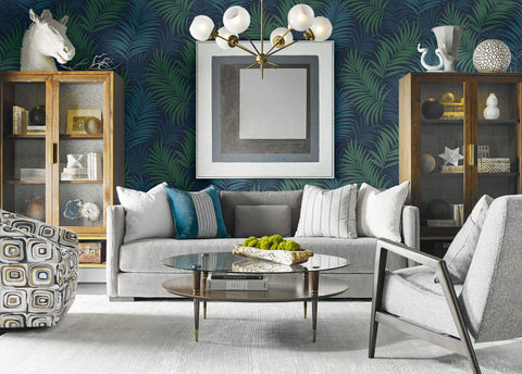Via Palma Wallpaper in Midnight Blue and Juniper from the Luxe Retreat Collection by Seabrook Wallcoverings
