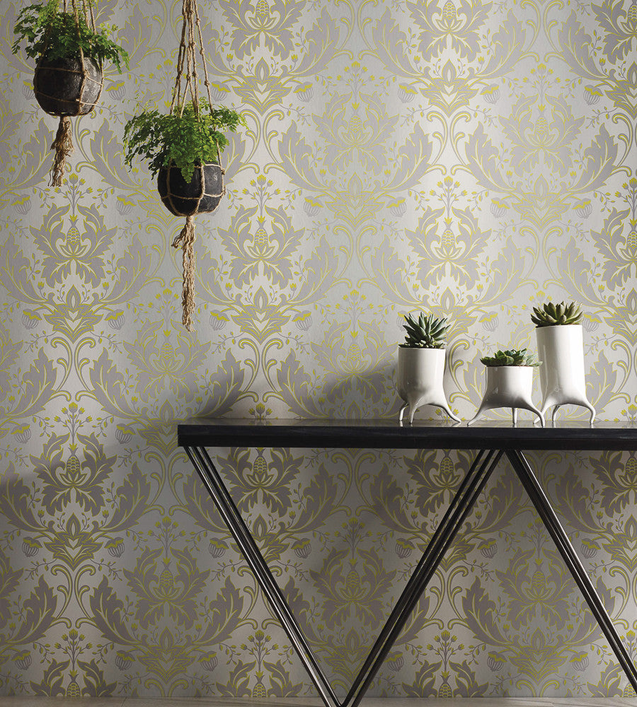 Viceroy Wallpaper in Lime and Grey by Matthew Williamson for Osborne & Little