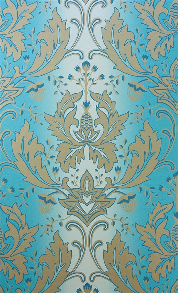 Viceroy Wallpaper in Turquoise and Gold by Matthew Williamson for Osborne & Little