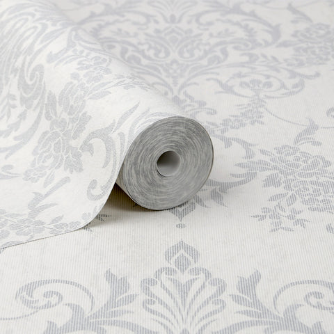 Victorian Damask Wallpaper in Silver from the Empress Collection by Graham & Brown