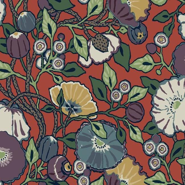 Sample Vincent Poppies Wallpaper in Red from the Conservatory Collection by York Wallcoverings