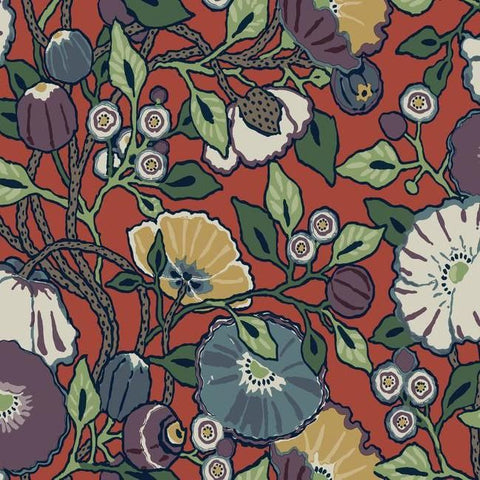 Vincent Poppies Wallpaper in Red from the Conservatory Collection by York Wallcoverings