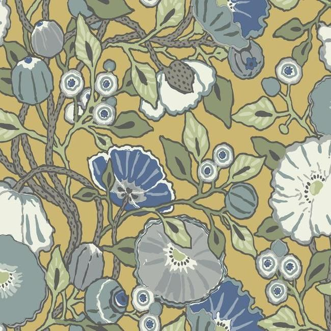 Sample Vincent Poppies Wallpaper in Yellow from the Conservatory Collection by York Wallcoverings