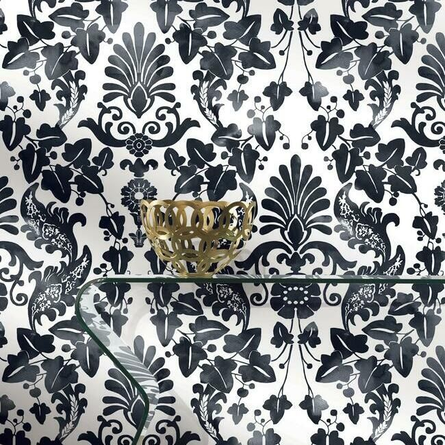Vine Damask Peel Stick Wallpaper In Black By Roommates For York Wall Burke Decor