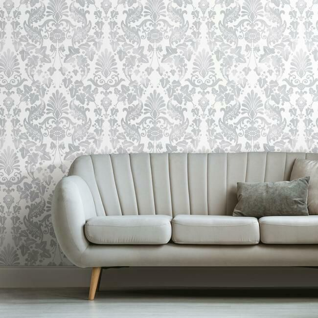 Vine Damask Peel & Stick Wallpaper in Grey by RoomMates for York Wallcoverings