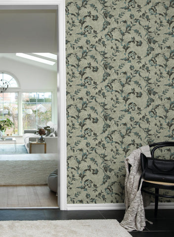 Vine Silhouette Wallpaper in Green and Black from the Impressionist Collection by York Wallcoverings