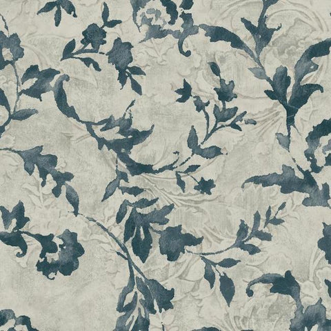 Vine Silhouette Wallpaper in Blue and Grey from the Impressionist Collection by York Wallcoverings