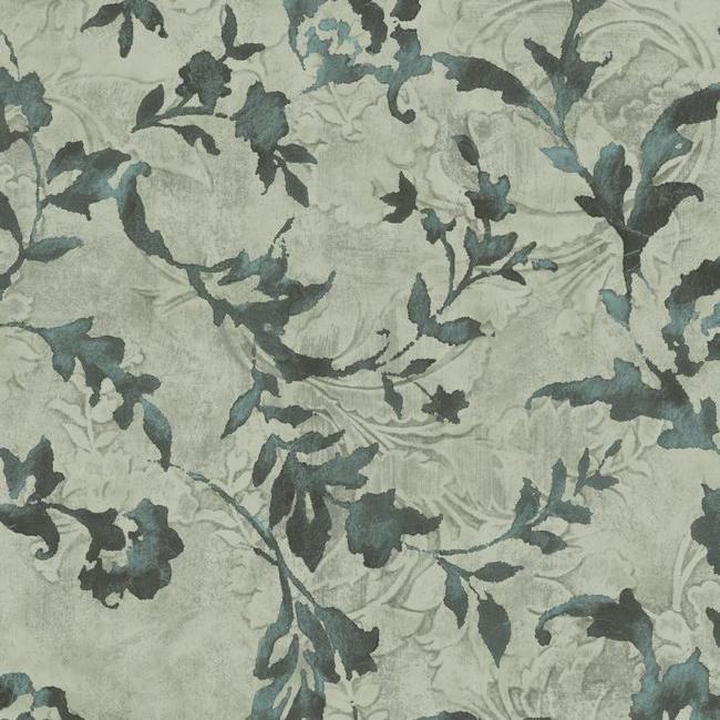 Sample Vine Silhouette Wallpaper in Green and Black from the Impressionist Collection by York Wallcoverings