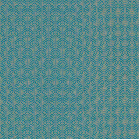 Sample Vintage Art Deco Wallpaper in Teal by Walls Republic