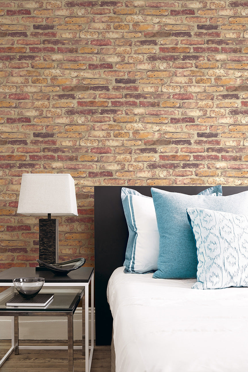 Vintage Brick Wallpaper in Red from the Vintage Home 2 Collection by ...