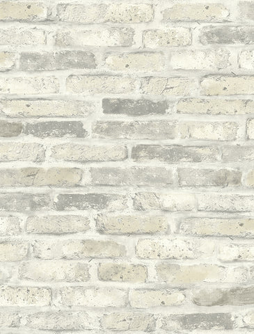 Vintage Brick Wallpaper in Soft Neutral from the Vintage Home 2 Collection by Wallquest