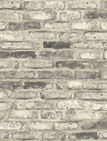 Vintage Brick Wallpaper in Washed Grey from the Vintage Home 2 Collection by Wallquest