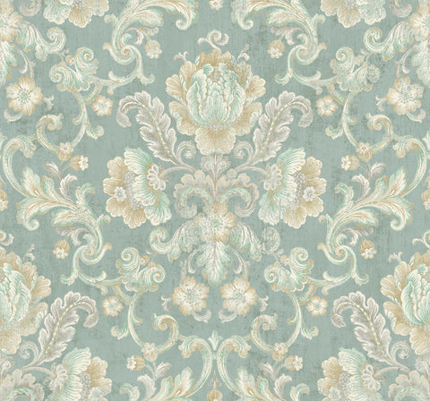 Vintage Cameo Wallpaper in Seafoam from the Vintage Home 2 Collection by Wallquest